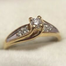 14k Yellow White Gold 1/10 Diamond Solitaire Marquise Engagement Wedding Ring 7