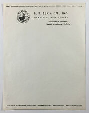 Vintage Illustrated Letterhead, B. R. Elk & Co. Chemicals, Garfield, New Jersey