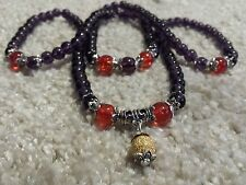 Buddhist 6mm Stone Amethyst 108 Prayer Beads Mala Flex Necklace /Bracelet+Pouch