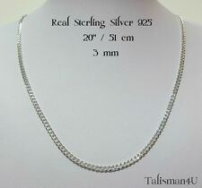 "20"" Curb Chain Necklace Real Solid 925 Sterling Silver Italy 3 mm Mens Jewelry"