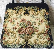 Vtg BLACK FLORAL NEEDLEPOINT Carpet BAG HANDBAG PURSE Black Flowers Gold Clip
