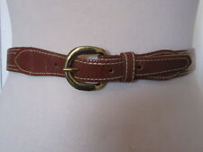 VINTAGE 1980'S SLIM TAN LEATHER WESTERN STYLE BELT WITH BRASS BUCKLE UK SIZE 10
