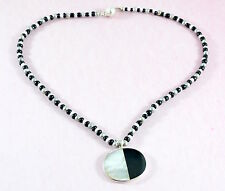 Sterling silver, mother of pearl & onyx pendant and glass beads necklace