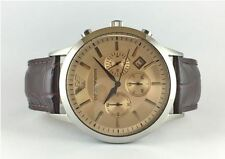 NEW EMPORIO ARMANI BEIGE MENS WRIST WATCH CHRONOGRAPH BROWN LEATHER BAND AR2433