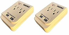 2 Pk 2 AC Outlet Wall Mount Tap Surge Protector Adapter Dual 2 USB Charging Port