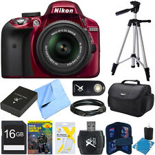 Nikon D3300 DSLR 24.2 MP HD 1080p Camera 18-55mm Lens Refurbished 16gb Bundle