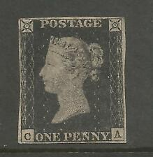 AN UNUSED 1840 PENNY BLACK PLATE 2 (RC) WITH 4 MARGINS SCARCE STAMP CAT £12,500