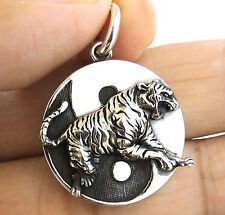 JAPANESE TIGER 4 GUARDIAN COIN SOLID STERLING 925 SILVER PENDANT JAPAN YIN YANG