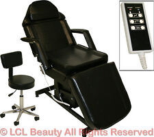 Black Electric Massage Facial Table Bed Chair Barber Beauty Spa Salon Equipment