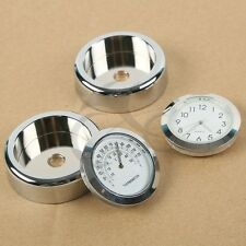 Motorcycle Wind Shield Screen Glow Chrome Dial Temp Thermometer Clock For Harley