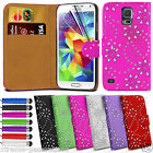 BLING Glitter Diamond LEATHER FLIP WALLET CASE Cover FOR SAMSUNG GALAXY