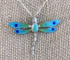 Pretty Antique Art Nouveau Victorian Silver Enamel Dragonfly Pendant Necklace