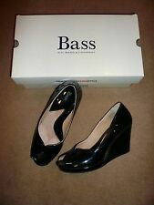 Gorgeous BASS Women's Wedge black Patent Leather CUSHION STEP shoes 8.5 M