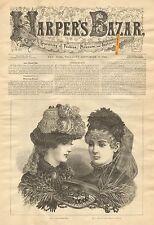 Lace Round Hat, Victorian Ladies Fashion, Hats, Vintage 1883 Antique Art Print