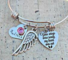 Personalized name Family Child mom loss Memorial Charms Angel wing Bracelet gift