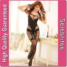 Sheer Bodystocking Open Crotch Garter Belt Bodysuit Lingerie Selebritee C140
