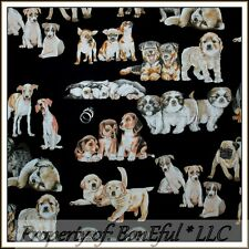 BonEful Fabric FQ Cotton Quilt Black Brown VTG Puppy Dog Family Breed Baby Face