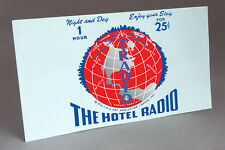 TRADIO HOTEL RADIO COIN OPERATED TUBE RADIO WATER SLIDE DECAL RED