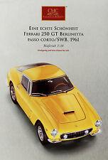 Prospectus CMC voiture miniature Ferrari 250 GT Berlinetta passo corto swb 1961 jaune broc