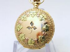 Near Mint 14k Solid Gold Waltham Pocket Watch Multi Color Case & Dial & Daimonds