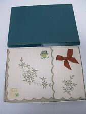 """VINTAGE IRISH LINEN TRAY CLOTH with HAND EMBROIDERED FLOWERS MIB 16"""" X 24"""""""
