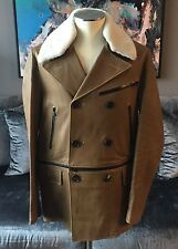 Mens Bally Tan Leather & Shearling Convertible Peacoat Motorcycle Jkt Sz 48 | M