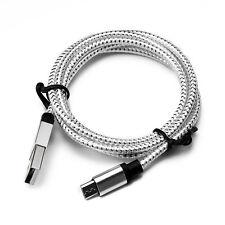 1m 2m 300cm Nylon trenzado Micro USB Cargador Cable de datos teléfono Android
