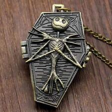 Retro Bronze The Nightmare Before Christmas Pocket Watch Quartz Necklace Chain