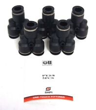 "LOT OF 5 NEW COMPOSITE PUSH TO CONNECT UNION ""Y"" FITTINGS 3/8"" OD, LG84PC-6-6"