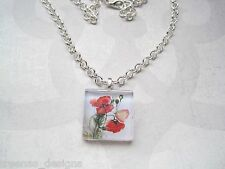 RED POPPY Glass Tile SP Chain Necklace Poppies Wild Flowers