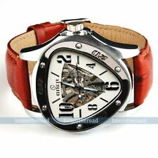 Steampunk Men Brown Leather Outdoor Racing Sport Auto Mechanical Wrist Watch
