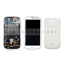 White Samsung Galaxy S3 i747 T999 LCD & Touch Screen + Frame Assembly Back Cover