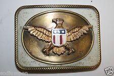 Vintage Large Gold & White Patriotic Eagle Usa Belt Buckle Rare