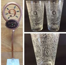 """Magic Hat # 9 Craft Brewing Co Tap Handle 13"""" & Glass Set of Two (2) Glasses NEW"""