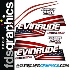 Evinrude 250hp E-TEC High Output outboard engine decals/sticker kit