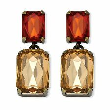 PalmBeach Jewelry Champagne and Amber Crystal Gold Tone Drop Earrings