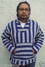 Medium Mexican Baja Hippie Surfer Pullover Hooded Sweater Royal Blue/White