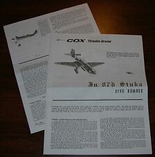COX THIMBLE DROME .049 Ju87d STUKA DIVE BOMBER MANUAL FLIGHT INSTRUCTIONS 049