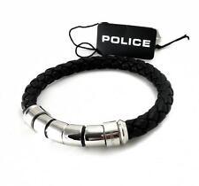 Police Uomo in Pelle nastro intrecciato bracciale in acciaio inox pj24691blb.01.l THROTTLE
