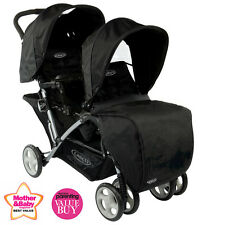 NEW GRACO OXFORD BLACK STADIUM DUO DOUBLE TANDEM BABY PUSHCHAIR TWIN STROLLER