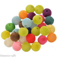 "30PCs Acrylic Spacer Beads Velvet Round Mixed 14mm(4/8"")Dia."