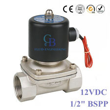 "1/2"" BSPP Stainless Steel 304 Normally Closed Electric Solenoid Valve 12V DC"