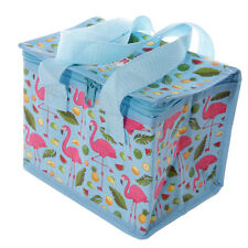 Lauren Billingham Flamingo Lunch Cooler Sandwich Bag Insulated Fold Up Blue New