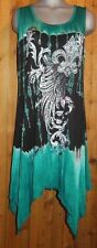 NWT VOCAL TUNIC DRESS SHIRT TOP teal fleur-de-lis tye-dyed plus size 4X western