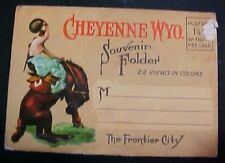 Cheyenne WY Wyoming 22 view old accordion fold out postcard booklet FREE S/H