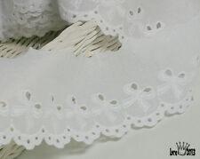 "14Yds Embroidery scalloped cotton eyelet lace trim 2.2"" white YH590 lacekingUSA"