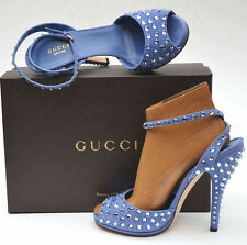 GUCCI New sz 38.5 - 8.5 Designer Jeweled Periwinkle Womens Shoes Sandals Heels
