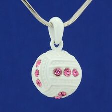 W Swarovski Crystal Pink White Enamel Volleyball Ball 3D Pendant Necklace Gift