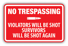 "No Trespassing Warning Sign Car Bumper Sticker Decal 5"" x 4"""