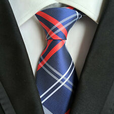 Classic Mens Silk Tie Necktie Blue w/ Red white Stripes Woven JACQUARD Neck Ties